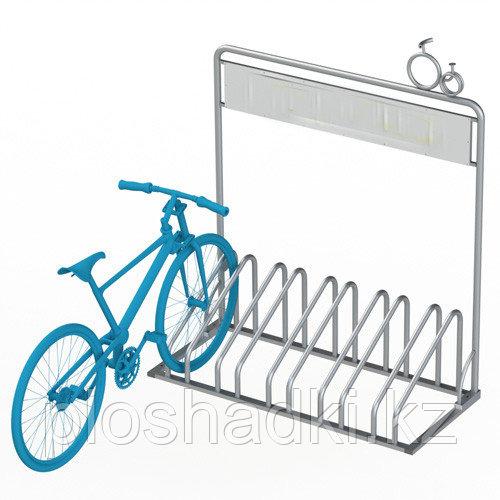 Велопарковка стальная с баннером для рекламы