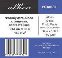 """Фотобумага глянцевая, влагостойкая, 180 г/м2, 36"""" (0,914х30 м) , Gloss Photo Paper; ALBEO PG180-36"""