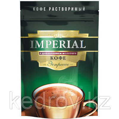 """""""IMPERIAL Эспрессо"""" кофе порошкообразный с добавлением молотого кофе, 95гр дой-пак."""