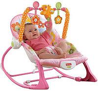 """Детский шезлонг, детское кресло-качалка Fisher Price """"Розовый кролик"""", фото 1"""