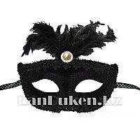 Венецианская маска Коломбина (черная) с пером