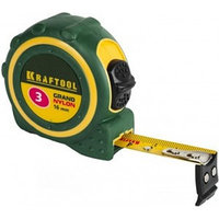 """Рулетка KRAFTOOL """"EXPERT"""" """"GRAND"""", двухкомпонентный корпус, двусторонняя шкала, нейлоновое покрытие, 5мх19мм"""