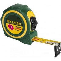 """Рулетка KRAFTOOL """"EXPERT"""" """"GRAND"""", двухкомпонентный корпус, двусторонняя шкала, нейлоновое покрытие, 3мх16мм"""