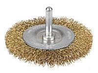 """Щетка STAYER """"PROFI"""" дисковая для дрели, витая латунированная стальная проволока, 0,3мм, 75мм"""