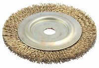 """Щетка ЗУБР """"ЭКСПЕРТ"""" дисковая для точильно-шлифовального станка, витая стальная проволока 0.3 мм, 150/12.7мм"""