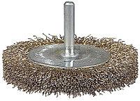 Щетка STAYER дисковая для дрели, витая латуниров стальная проволока 0,3мм, 38мм