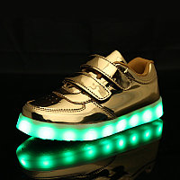 LED Кроссовки детские со светящейся подошвой, золото низкие 32
