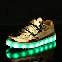 LED Кроссовки детские со светящейся подошвой, золото низкие