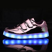 LED Кроссовки детские со светящейся подошвой, розовые зеркальные низкие
