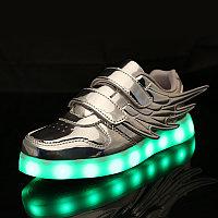 LED Кроссовки детские со светящейся подошвой, серебряные крылья
