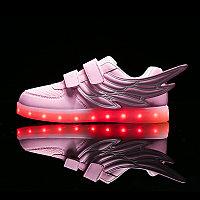 LED Кроссовки детские со светящейся подошвой низкие, розовые крылья, фото 1