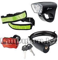 Набор велосипедный передний и задний фонари LED светоотражатель и тросовый замок 90561 (002)