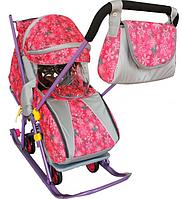 Санки коляска, Галактика Детям-2, Снежинки на розовом