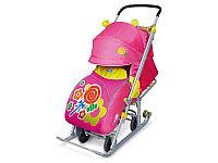 Детские санки-коляска Ника Детям 7 с выдвижными колесами, розовый