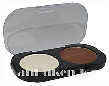 Матовые тени для глаз MAC 2 COLOR GROOMING POWDER (белый и коричневый) 1 тон