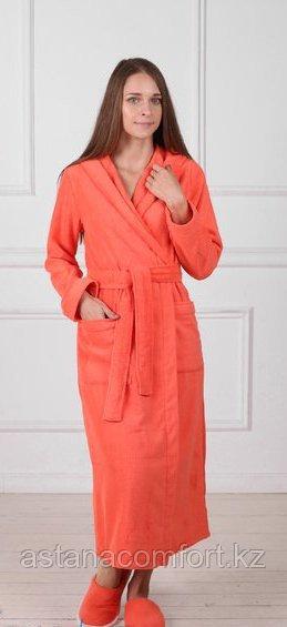Женский махровый длинный халат с капюшоном. Россия