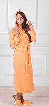 Халат женский банный махровый с капюшоном. Россия