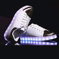 LED Кроссовки со светящейся подошвой, бело-золотые низкие, 37-41, фото 1