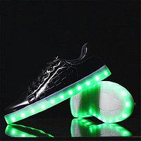 LED Кроссовки со светящейся подошвой, черно-золотые низкие, 35-41, фото 1