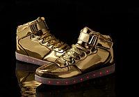 LED Кроссовки со светящейся подошвой, золотые высокие, 37-41