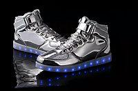 LED Кроссовки со светящейся подошвой, серебряные высокие, 37-41