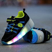 Кроссовки на роликах с подсветкой, черно-голубые замшевые, фото 1
