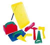 """Игровой набор """"Строитель"""" №1 в сумке ПВХ (сито, терка, мастерок, ножовка, топор, молоток, уровень"""