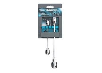 (14893) Набор ключей накидных с трещоткой, 8 - 19 мм, 2 шт., многоразмерные, реверсивные, CrV// GROSS