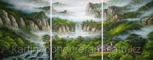 """Картина по номерам """"Водопад в зеленом лесу """", триптих"""