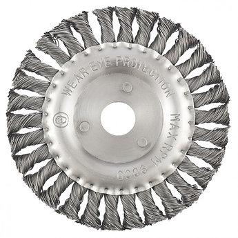 (74634) Щетка для УШМ 150 мм, посадка 22,2, мм плоская , крученая металлическая проволока // MATRIX