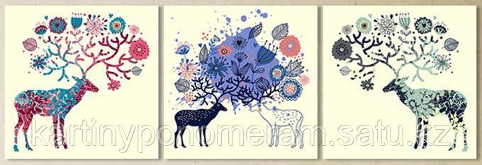 """Картина по номерам """"Волшебные олени"""", триптих"""