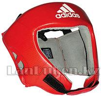 Шлем боксерский красный с черной застежкой и с надписью