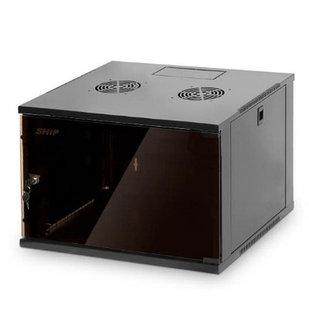 Шкаф настенный, SHIP, 602.5409.03.100, SQ серия, 19'' 9U, 540*450*445 мм, Ш*Г*В, IP20, Чёрный