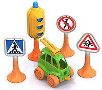 """Набор """"Дорожные знаки"""" №2 (светофор, 3 знаков, машинка """"Нордик""""), фото 1"""
