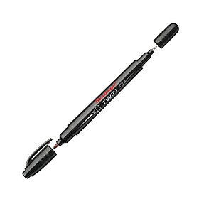 Маркер перманентный двухсторонний черный, пулевидный, 0,5-1мм