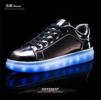LED Кроссовки со светящейся подошвой, бронза, зеркальные, 35-40