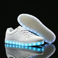 LED Кроссовки со светящейся подошвой, белые низкие, 35-41, фото 1