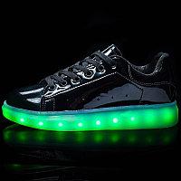 LED Кроссовки со светящейся подошвой, черные зеркальные
