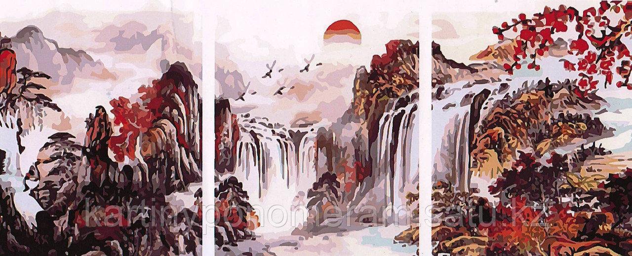 """Картина по номерам """"Водопад в осеннем лесу"""", триптих"""