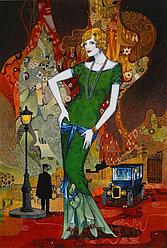 """Картина по номерам """"Дама в зеленом"""" под заказ 3 дня"""