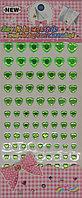 Стразы самоклеющиеся на листе (сердечки зеленые) - ассорти