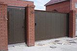 Ворота уличные 4000х2100 в алюминиевой раме с сэндвич панелями, фото 2