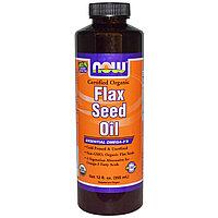 Now Foods, Сертифицированное, органическое льняное масло,  (355 мл)