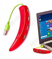 Разветвитель USB «ПЕРЧИК», красный