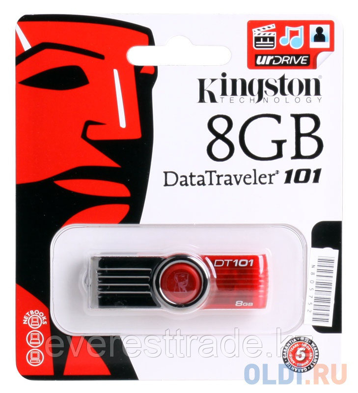 USB флеш 8GB 2.0 Kingston DT101G2/8GB, красный