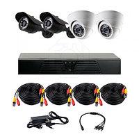 Готовый комплект видеонаблюдения из 2 внутренних и 2 уличных камер