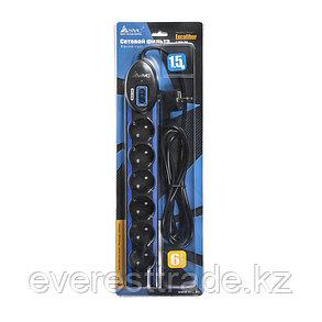Сетевой фильтр SVC Excalibur G-2006-1.5BB, 6 вых.: Shuko CEE7, 1,5 м, фото 2