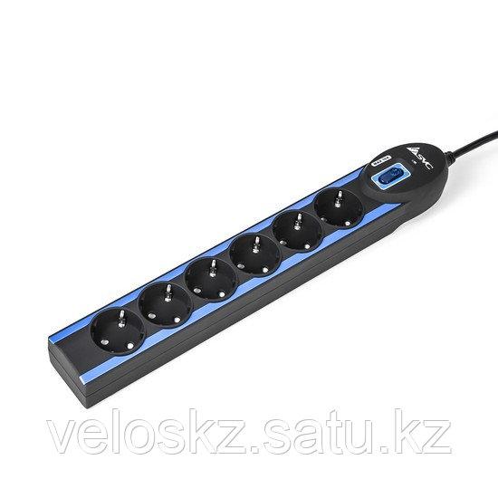 Сетевой фильтр SVC Excalibur G-2006-3BB, 6 вых.: Shuko CEE7, 3 м