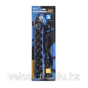 Сетевой фильтр SVC Excalibur G-2006-3BB, 6 вых.: Shuko CEE7, 3 м, фото 2