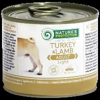 Влажный корм для малоподвижных и склонных к полноте собак Nature's Protection Adult Light Turkey & Lamb